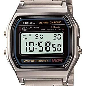 orologio casio vintage acciaio quadrante nero a158wa-1df