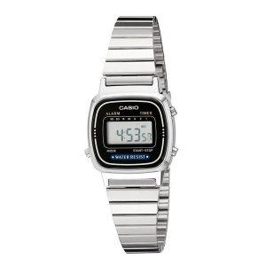 orologio casio vintage cinturino acciaio quadrante nero la670wa-1df