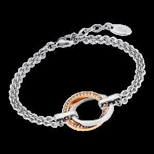 Bracciale lotus style - doppia catena - doppio cerchio - 1 cerchio acciaio - 1 cerchio in acciaio rosato con strass ls1780/2/2