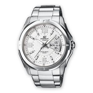 orologio Casio edifice quadrante bianco cassa in acciaio e cinturino in acciaio e water resist