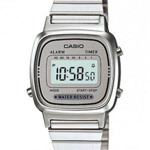 orologio casio vintage cinturino acciaio quadrante grigio la670wa-7df