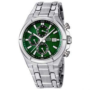 orologio jaguar uomo cinturino acciaio cassa acciaio quadrantte verde j665/5