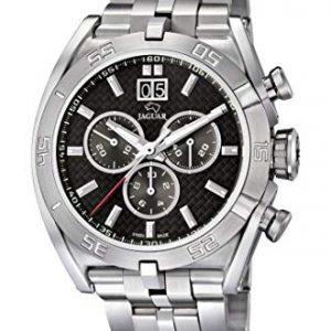 orologio da uomo jaguar cinturino acciaio cassa acciaio chrono quadrante nero in fibbra di carbonio j654/2