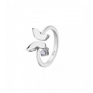 Anello in argento con farfalla con zirconcino bianco pendente lp1639-3/112