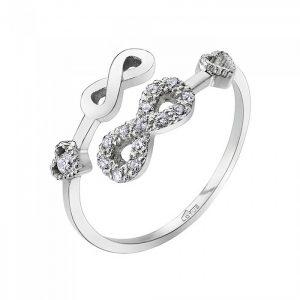 Anello in argento doppio infinito uno con zirconi e due cuoricini con zircone bianco LP1617-3/1
