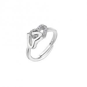 Anelo lotus silver doppio cuore di cui uno con zirconi lp1594-3/1