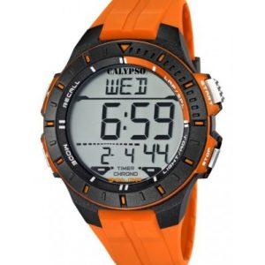 Orologio Calypso Uomo Digitale Chrono Alarm Light Timer water resist 10 atm cinturino in silicone Arancio cassa in plastica nera e arancio k5607/1