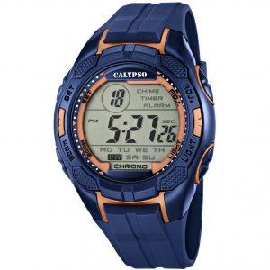 Orologio Calypso Uomo Digitale Chrono Alarm Light Timer water resist 10 atm cinturino in silicone Blu cassa in plastica blu e rose' k5627/9