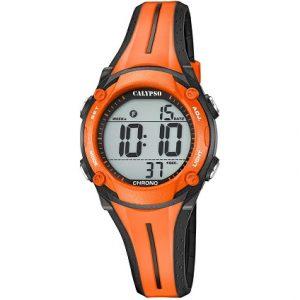 Orologio Calypso Bimbo digitale , cinturino Arancio e Nero in gomma , cassa in plastica arancio e nera ,water resist 10 atm , Light , Chrono. k5682/b