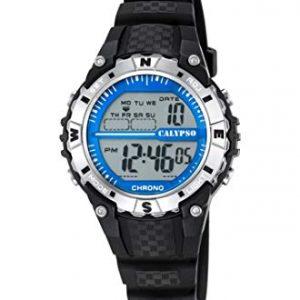 Orologio Calypso Bimbo digitale , cinturino nero in gomma , cassa in plastica ,water resist 10 atm - Chrono - Light .k5684/1