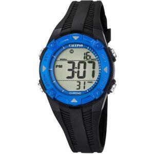 Orologio Calypso Bimbo digitale , cinturino nero in gomma , cassa in plastica nera e azzurra ,water resist 10 atm - Chrono - Light .