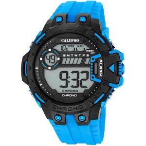 Orologio Calypso uomo digitale , cinturino Azzurro ,Cassa Nera e Azzurra , 10 ATM , Chrono - Alarm - Light. K5696/2