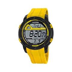Orologio Calypso uomo digitale , cinturino Giallo in gomma , cassa nera in plastica ,water resist 10 atm - Chrono - Timer - Light - Alarm. K5697/1