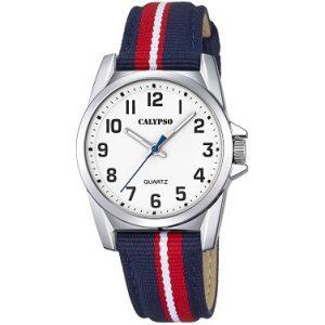 Orologio Calypso Bimbo solo tempo , cinturino Blu rosso e bianco in nylon , cassa in acciaio ,water resist 5 atm. K5707/3