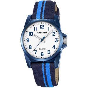 Orologio Calypso Bimbo solo tempo , cinturino Nero e azzurro in nylon , cassa in acciaio ,water resist 5 atm. k5707/6