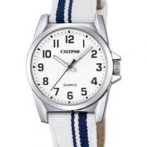 Orologio Calypso Bimbo solo tempo , cinturino bianco e blu in nylon , cassa in acciaio ,water resist 5 atm. K5707/1