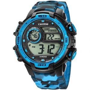 Orologio Calypso uomo digitale , cinturino nero , azzurro e grigio in gomma , cassa nera e Azzurra in plastica ,water resist 10 atm. K5723/4