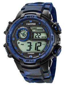 Orologio Calypso uomo digitale , cinturino nero e blu in silicone , cassa nera e blu in plastica ,water resist 10 atm.k5723/1
