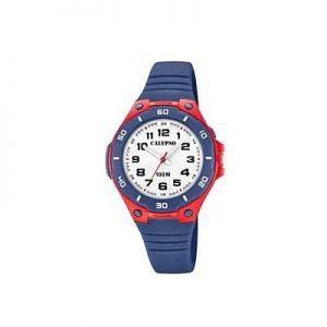 Orologio Calypso Bimbo solo tempo , cinturino blu in silicone , cassa in plastica blu e rossa ,water resist 10 atm. k5758/1