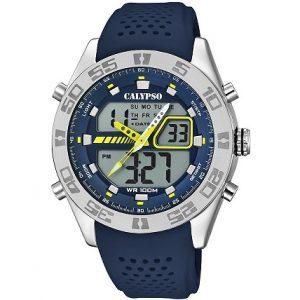 Orologio Calypso uomo analogico e digitale , cinturino Blu in silicone,Cassa in Acciaio, 10 ATM , Light - Alarm - Timer - Chrono. k5774/3