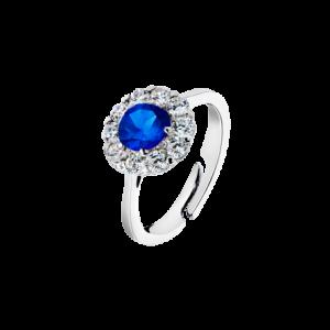 Anello in argento con pietra blu centrale e zirconi bianchi intorno LP1290-3/2