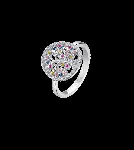 Anello in argento con albero della vita e pietre colorate lp1896-3/112