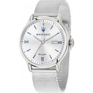 orologio uomo maserati cinturino acciaio maglia milano cassa acciaio solo tempo e datario indici blu r8853118012