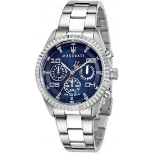 orologio maserati chrono cinturino acciaio e cassa acciaio quadrante blu r8853100011