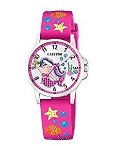 orologio calypso bimba cinturino in gomma fucsia con disegni cassa in acciaio quadrante bianco con sirenetta k5782/3
