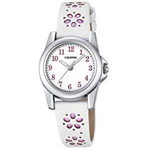 orologio calypso bimba solo tempo 5 atm cinturino gomma bianco con fioti glicine k5712/2
