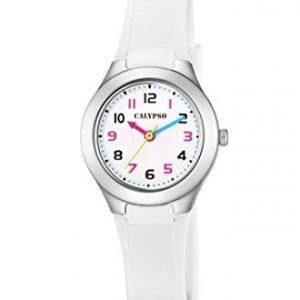 orologio bimba calypso cinturino bianco in gomma cassa acciaio numeri neri e fucsia k5749/1