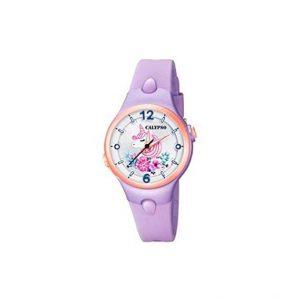orologio donna calypso cinturino in gomma glicine cassa acciaio rosè quadrante con luce k5783/3