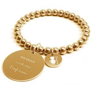 bracciale 10 buoni propositi in acciaio dorato medaglia pendente con scritta da oggi scateno l'inferno b-4526/go