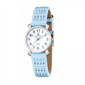 orologio calypso donna solo tempo cinturino celeste in pelle quadrante bianco k5225/3