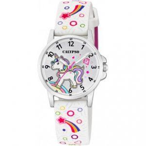 orologio calypso bimba cinturino gomma bianco con disegni quadrante con unicorno k5776/4