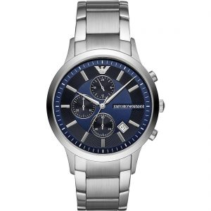 orologio armani uomo cinturino e cassa acciaio cronografo quadrante blu ar11164