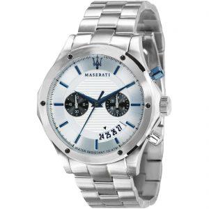 orologio uomo maserati cinturino e cassa acciaio quadrante bianco lancette e indici azzurri cronografo r8873627005