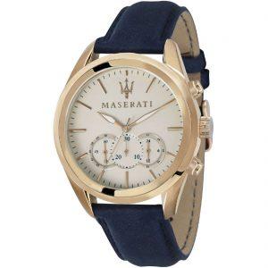 orologio maserati uomo cinturino in pelle blu cassa acciaio color oro quadrante color champagne cronografo r8871612016