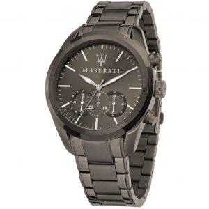 orologio uomo maserati cassa e cinturino acciaio color antracite cronografo r8873612002