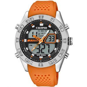 orologio uomo calypso analogico digitale cinturino arancione in silicone k5774/1