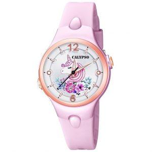 orologio calypso bimba cinturino in gomma rosa cassa in acciaio rosè e plastica quadrante con luce k5783/2