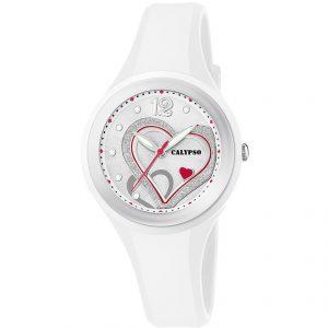 orologio donna/bimba solo tempo 5 atm cinturino in gomma bianco quadrante con cuori k5751/1