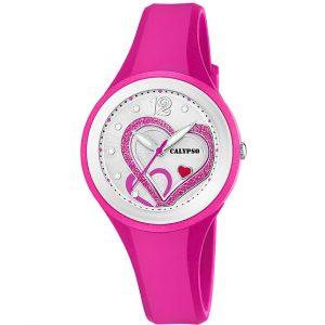 orologio donna/bimba calypso solo tempo 5 atm cinturino in gomma fucsia quadrante con cuori k5751/3
