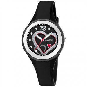 orologio donna/bimba calypso cinturino nero in gomma quadrante con cuori k5751/4
