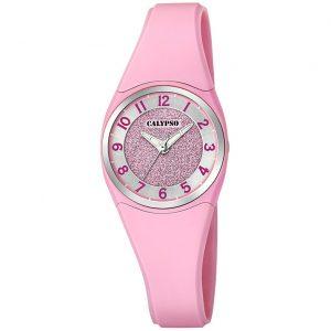 orologio donna/bimba calypso cinturino in gomma rosa quadrante rosa con brillantini k5752/2