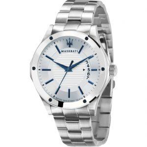 orologio uomo maserati cassa e cinturino in acciaio quadrante bianco indici e lancette azzurre solo tempo e data r8853127001
