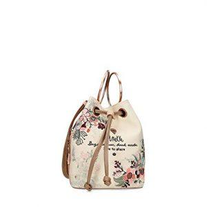 anekke borsa similpelle con manici in metallo fantasia fiori 28862-28