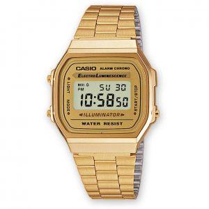 orologio uomo donna casio vintage cinturino cassa e quadrante dorato digitale a168wg-9wdf