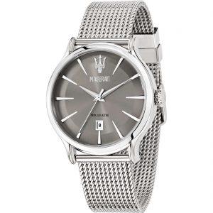 orologio maserati uomo cinturino maglia milano quadrante grigio cassa acciaio solo ,tempo e datario r8853118002