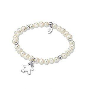 Bracciale Lotus Silver in Argento - Bracciale elastico con perle bianche ed argento - Bimbo con strass nei capelli - La lunghezza del bracciale è di 19cm. lp1584-2/2
